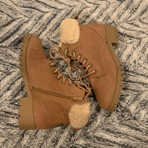 Madden girl lace up fur booties